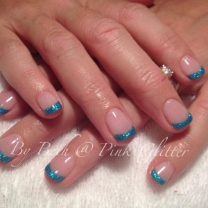 Aquacade French with loose glitter