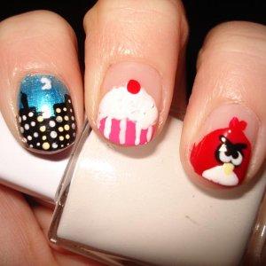 skyline, cupcake and red angry bird