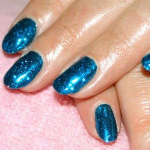 """Bombshell Shellac in """"Midnight Swim"""" with """"Winter Blue"""" Twinkle Additive on top."""