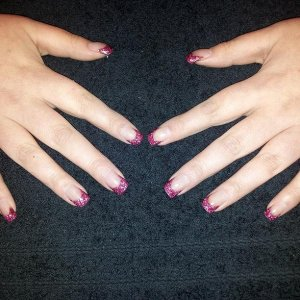 CND sculpted nails with acrylic glitter mix after 3 week re-balance from red to pink glitter tips