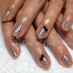 Almond Splendor with stamping and 3D bow in Licorice