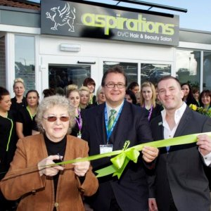 Me with Eve Taylor OBE officially opening the £750,000 new Spa at my old College