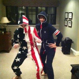 Samuel in his USA Onesie and Samantha in her British Onesie.