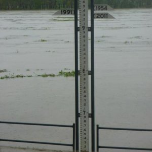 The flood marker, river is now at 7 meters