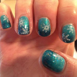 Christmas Nail Art, Shellac - Hotski To Tchotchke, Midnight Swim, Zillionaire and Konad Nail Art