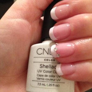 Shellac - Cream Puff, Beau with Diamonte Nail Art