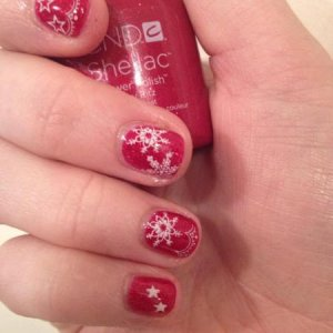 Christmas Nail Art. Shellac - Ruby Ritz with Konad Nail Art