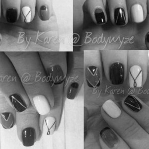 monochrome nails using licorice, white and cango caves