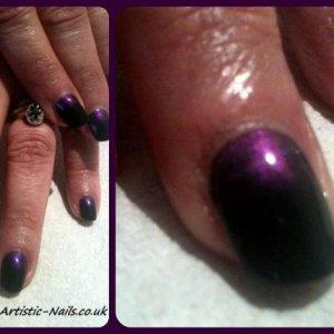 Gelish black shadow & violet pearl