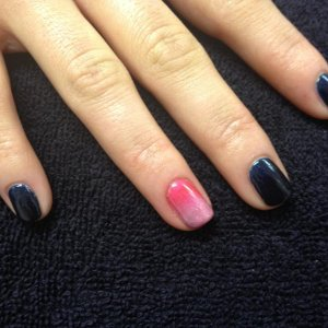 shellac midnight swim with accent ring finger done with cnd additives