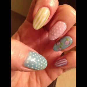 Cath Kidston inspired nails with the new spring collection and Studio White