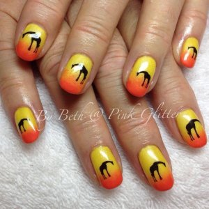 Ombré overlays in Sugar Sweet Pea and Daffodil with giraffe decals