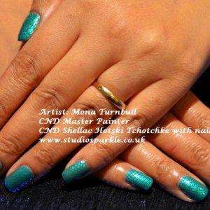 Simple CND Shellac Hotski Tchotchke and stamping art using CND Colour -Green Scene.