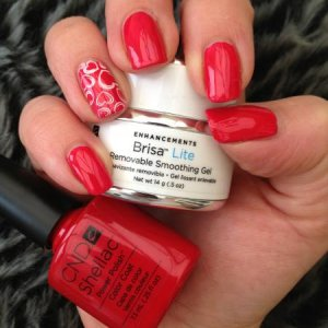 Shellac - Wildfire over cream puff and stamping.