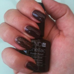 Shellac in Fedora and chocolate irresistible glitter on accent