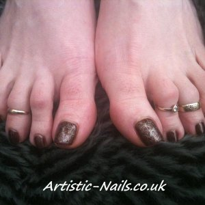 Gelish in Sweet chocolate and stamping plate BM 312