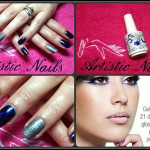 Gelish layered in Black shadow and Wiggle Fingers. Midnight Caller with Waterfield on accent.