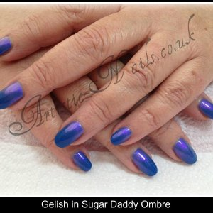 Gelish in Sugar Daddy with Violet pearl additives