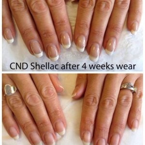 """CND """"Sweeping"""" French after 4 weeks with healthy nails post-removal"""