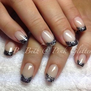 Licorice and Melting Mercury with loose glitters and stamping