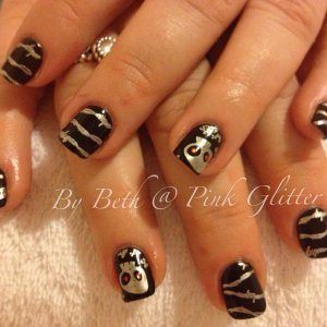 Licorice overlays with silver skull and barbwire stamping with red glitter hex