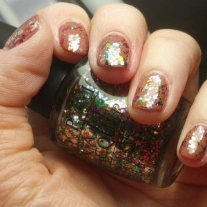 Gelish Exhale with OPI glitter polish.