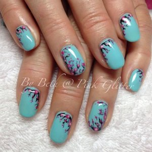 Custom blended Turquoise, with hand painted blossom in  Licorice, Princess, Royal Highness and Marshmallow Pink