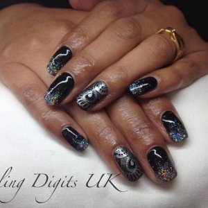 shellac. glitters and stamping