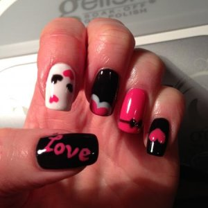Gelish love nails, black shadow, passion & sheek white