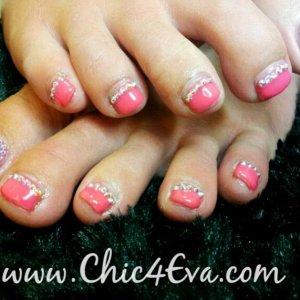 Swarovski crystal pedi toes rose ab