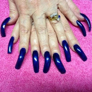 Very long natural nails with acrylic overlays for strength. Finished off with Gelish - Caution Next time there will be some art too.