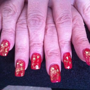 Shellac wildfire with gold foil and gems