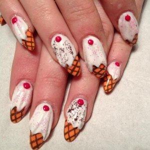Colour acrylic / ice cream cons 3D acrylic nail art