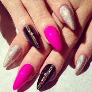 Natural acrylic / polish nail art