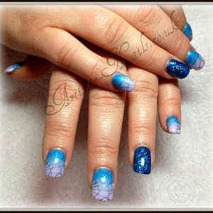 Shellac ombre with stamping