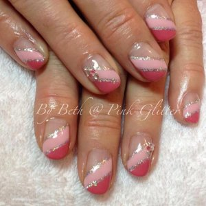 Marshmallow Pink and Pink Iceberg French with gems and silver glitter