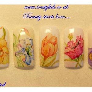 Hand painted watercolour nail art