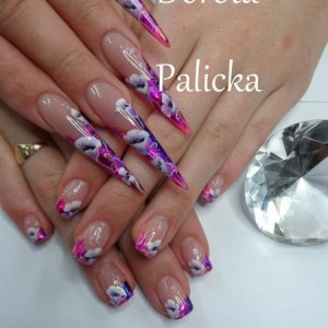 nail design by Dorota Palicka, one stroke stiletto and salon nail art