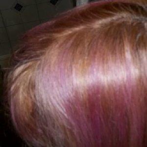 used purple manic panic to tone, but it was too dark.  manic panic virgin snow didn't show up, because my hair was too dark.