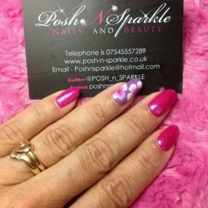 Shellac with one stroke nail art and glitter