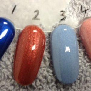 Brisa Gel and Brisa Lite. 1. Brisa Sculpting Gel Clear with Deep Blue Additive 2. Brisa Sculpting Gel Clear with Burning Ember Additive 3. Brisa Lite Sculpting Gel Pure White with Deep Blue Additive 2. Brisa Lite Sculpting Pure White with Burning Ember Additive