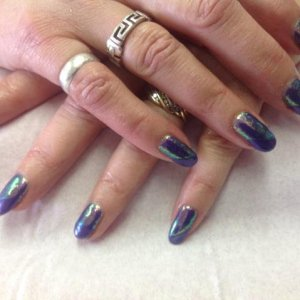 Purple Purple shellac with Nail Grafix mermaid glitter
