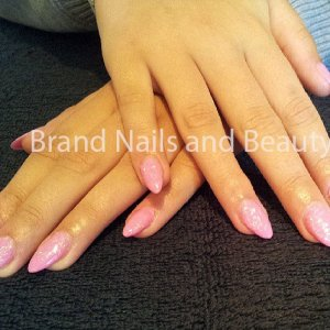 Almond shaped gel extensions with Berry Smoothie Gellux and glitter sprinkles.