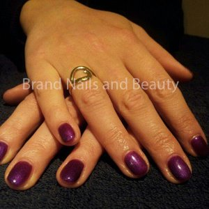 Gellux manicure and polish on natural nails.