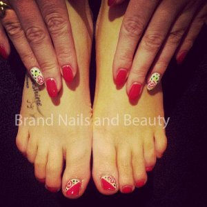 Gellux gel polish on natural nails in Marachino Cherry with hand painted nail art roses.