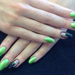 L&P enhancements with vinylux limeade, Blackpool and dashing diva accents