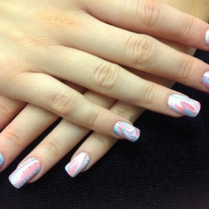 L&P enhancements with water marbling with vinylux polish