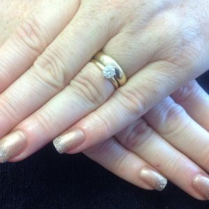 L&P enhancements with shellac and irresistible glitter fade