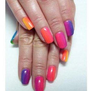 Gelish Rainbow manicure