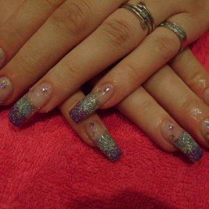 purple and silver glitter fade